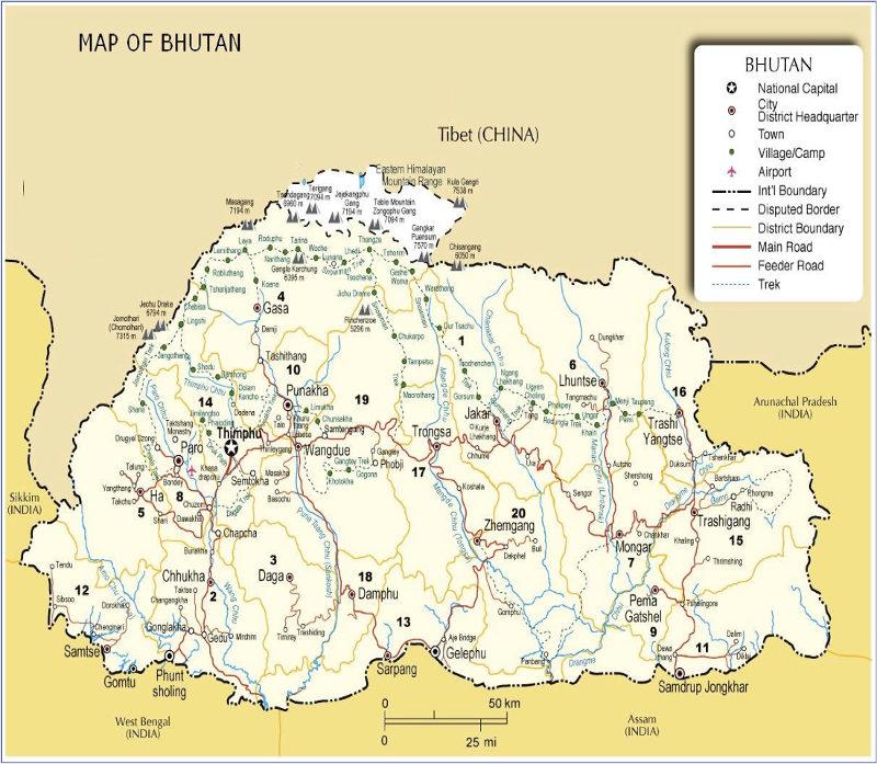 Chomolhari Trek Experience The Beauty Of Bhutan - Bhutan map