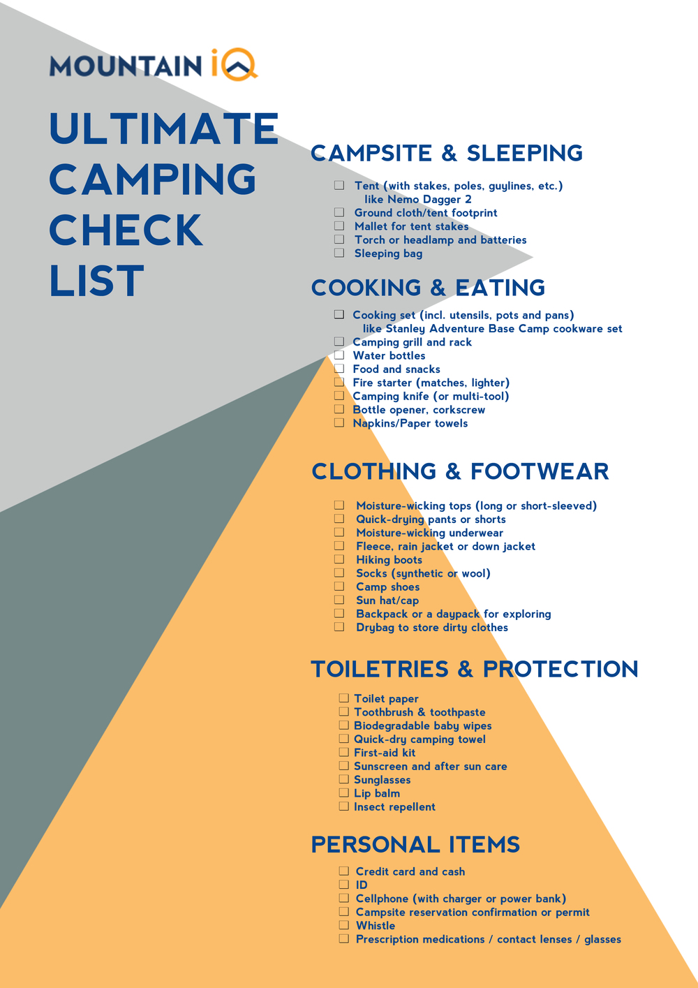 ULTIMATE CAMPING CHECKLIST by MOUNTAINIQ